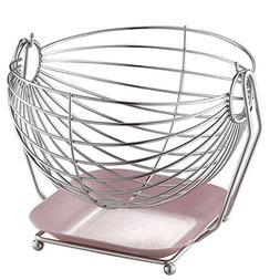 Swinging Fruit Hammock,Silver Stainless Steel Fruit Basket,L