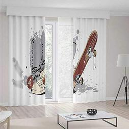 iPrint Teen Room Decor Blackout Curtain,Skateboard Boy Feet