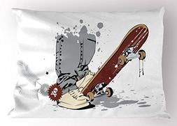 Ambesonne Teen Room Decor Pillow Sham, Skateboard with Boy F