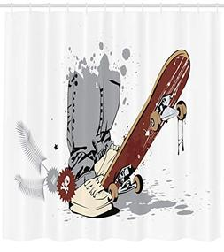 Ambesonne Teen Room Decor Shower Curtain, Skateboard with Bo