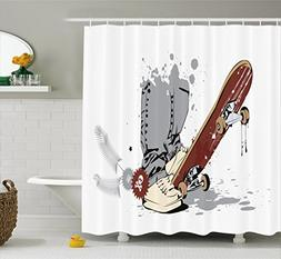 Ambesonne Teen Room Decor Shower Curtain, Skateboard with Bo