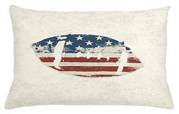 Ambesonne Sports Throw Pillow Cushion Cover, Grunge American