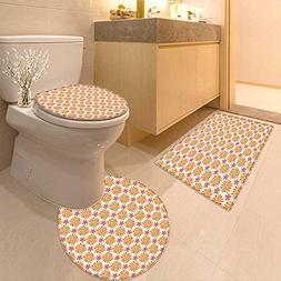 Printsonne Bathroom Household Rug Season Toned Blooms with D