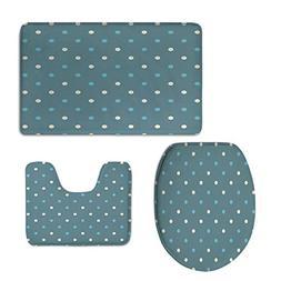 3 Piece Toilet mat Set,Geometric,Polka Dotted Pattern Tradit