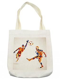 Ambesonne Sports Tote Bag, Abstract Design with Football Soc