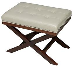 Traditional X Bench Cross Legs Ottoman in Cream Vinyl with W