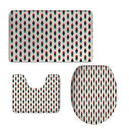 iPrint U-Shaped Toilet Floor Rug Set,Vintage Decor,Geometric