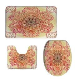 iPrint U-Shaped Toilet Floor Rug Set,Red Mandala,Magical Spi