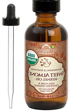 New_US Organic Sweet Almond Kernel Oil, USDA Certified Organ