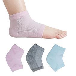 3 pairs Vented Moisturizing Heel Socks, Smeala Day Night Ope