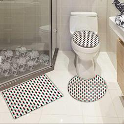 Carl Morris Vintage bath toilet mat set Geometric Retro Styl