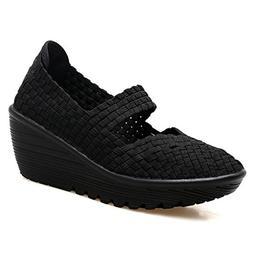 GilesJones Wedge Flats Shoes Women,Casual Handmade Woven Pee
